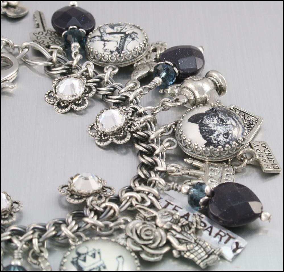 Charm Bracelet, Silver Alice in Wonderland, Down the Rabbit Hole, Charm Jewelry, White Rabbit, Madhatter