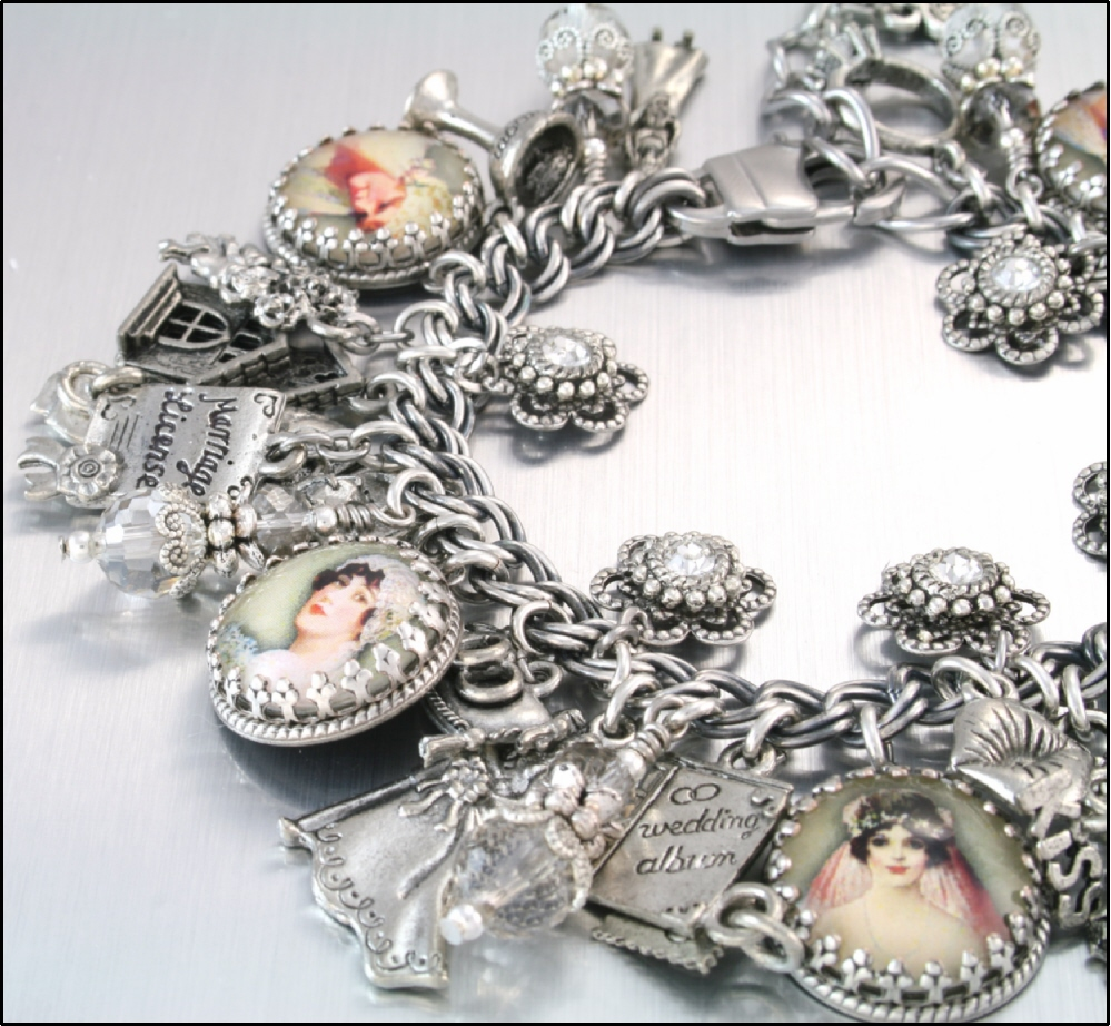 Charm Bracelet Bridal Jewelry Silver Wedding June Bride